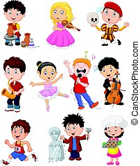 niños, ocupado, en, diferente, pasatiempos
