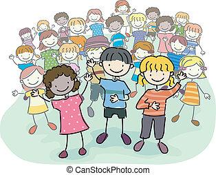 niños, palo, multitud
