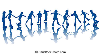 niños, patines, rodillo