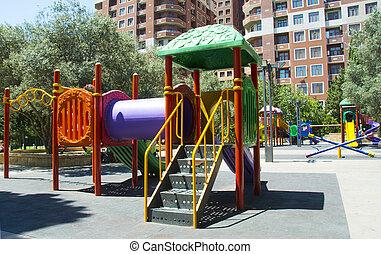 niños, patio de recreo, en el parque
