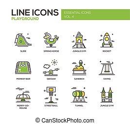 niños, patio de recreo, línea, diseño, iconos, conjunto