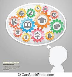 niños, pensar, con, educación, iconos