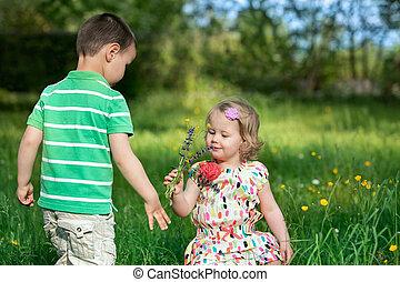 niños pequeños, jardín