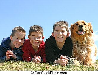 niños, perro