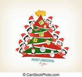 niños, pipiando, atrás, árbol de navidad