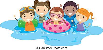 niños, piscina