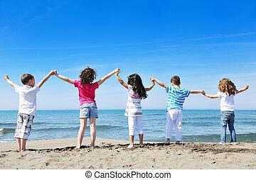 niños, playa, juego