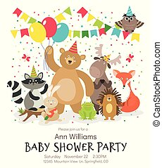 niños, poster., vendimia, bosque, cumpleaños, ducha, vector, bosque, animal, invitación, animales bebé, tarjeta, feliz