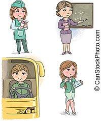 niños, profesión, 6