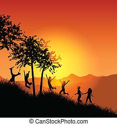niños que corren, arriba, un, herboso, colina
