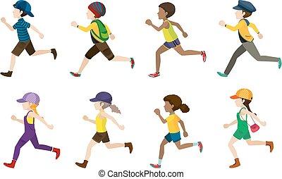 niños que corren