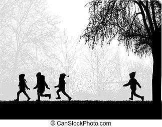 niños que corren, en, el, park.