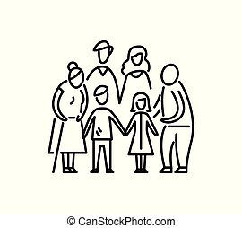 niños, relación, familia , grande, padre, aduelo, abuela,...