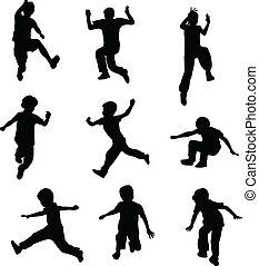 niños, saltar