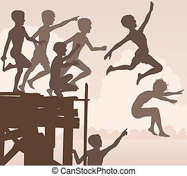 niños, saltar, embarcadero