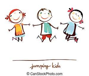 niños, saltar, feliz