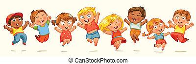 niños, salto, para, joy., bandera