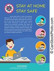 niños, seguro, hogar, estancia