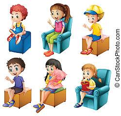 niños, sentado