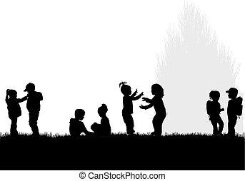 niños, silhouettes.