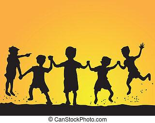 niños, silueta, juego