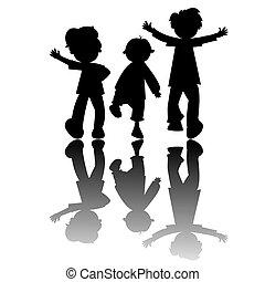 niños, siluetas, aislado, blanco, plano de fondo