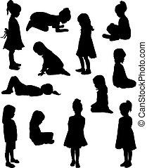 niños, siluetas
