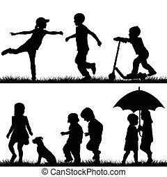 niños, siluetas, juego
