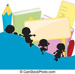 niños, siluetas, plano de fondo