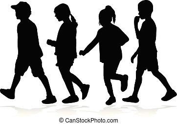 niños, siluetas, running.