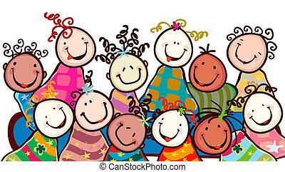 niños, sonriente