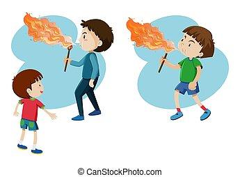 niños, soplar, fuego, en, palo