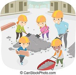niños, stickman, ayuda, servicio, comunidad, profesor