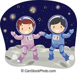 niños, stickman, bailando, luna