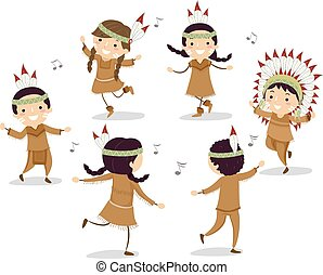 niños, stickman, baile, norteamericano, círculo, nativo