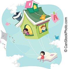 niños, stickman, casa, vuelo, libro, equitación