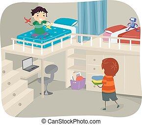 niños, stickman, desván, dormitorio