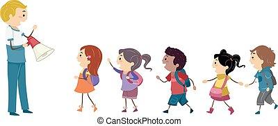 niños, stickman, estudiante, taladro