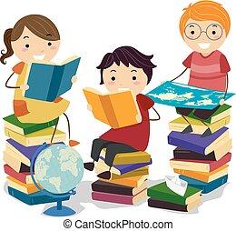 niños, stickman, estudio, ilustración, libros, geografía