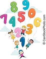 niños, stickman, globo, vuelo, ilustración, números
