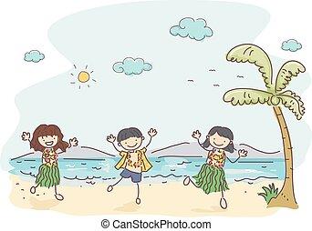 niños, stickman, hawaiano