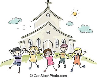 niños, stickman, iglesia