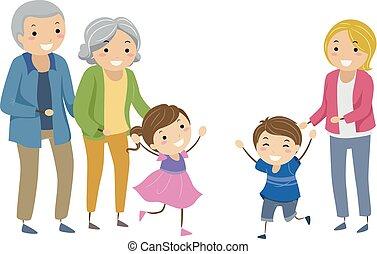niños, stickman, ilustración, reunite, foster, hermanos