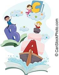 niños, stickman, paseo, fantasía, libro, aventura, cartas