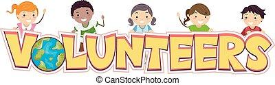 niños, stickman, voluntarios