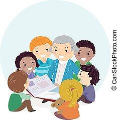 niños, stickman, washington, ilustración, libro, george