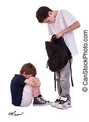 niños, sufrimiento, de, intimidar, por, un, adolescente,...