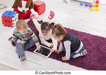 niños, tableta