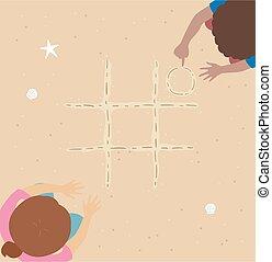 niños, tac, dedo del pie, arena, ilustración, tic