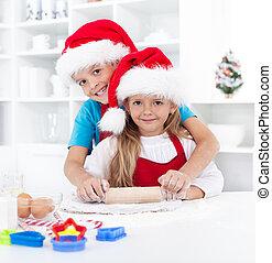 niños, tener diversión, preparando, galletas navidad